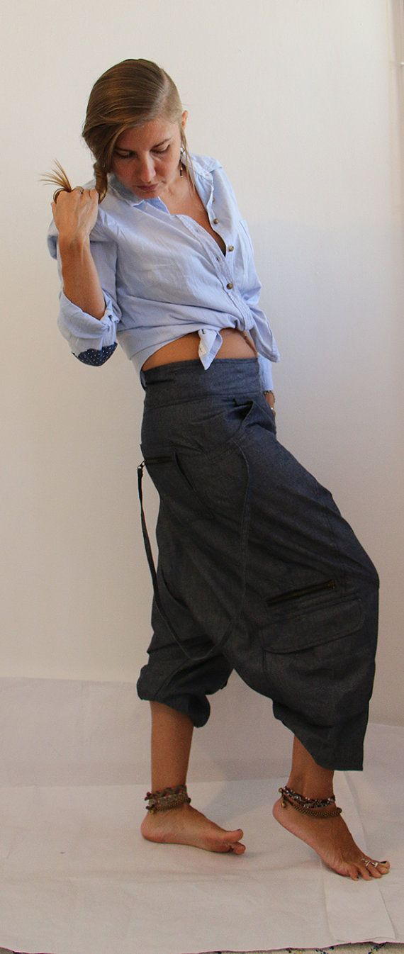 Aladdin pants known as Harem or Afghani trousers are very comfy. Our stylish denim harem pants are a perfect combo of style and comfort! These drop crotch pants are totally on trend for men or women for winter, spring or fall and they're a great alternative to boring old jeans! The harem pants are expertly designed to complement both men's and women's bodies with a low waist, super low crotch and elastic at the ankle which means that the length of these pants is adjustable for a good fit…