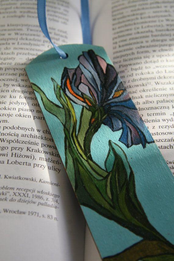 Blue Iris Flower Wood Bookmark. by FennekArtDesign on Etsy