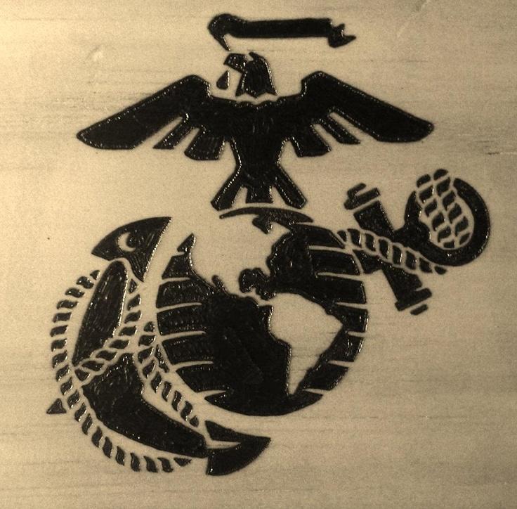 Eagle, globe, and anchor I wood burned | wood burning ...