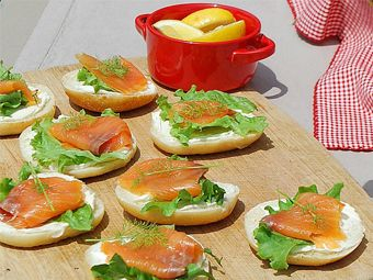 They're not red and white, but BC does have some of the smoked salmon! This could make for a wonderful picnic appetizer.