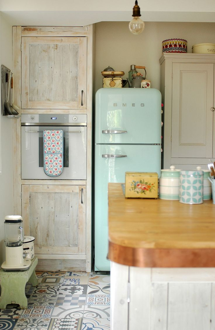 kitchen renovation tour — Patchwork Harmony. Mint green Smeg fridge, reclaimed white washed cupboards & patchwork tiles.