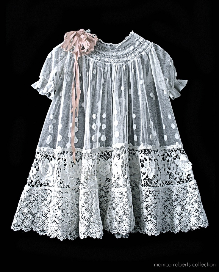 antique French embroidered net and lace baby dress ca