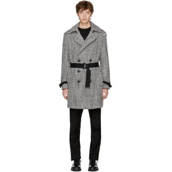 Saint Laurent Black and White Double-Breasted Chevron Trench Coat (22.976.350 IDR) ❤ liked on Polyvore featuring men's fashion, men's clothing, men's outerwear, men's coats, black, mens trench coat, mens wool trench coat, mens double breasted wool coat, mens double breasted coat and mens wool coats