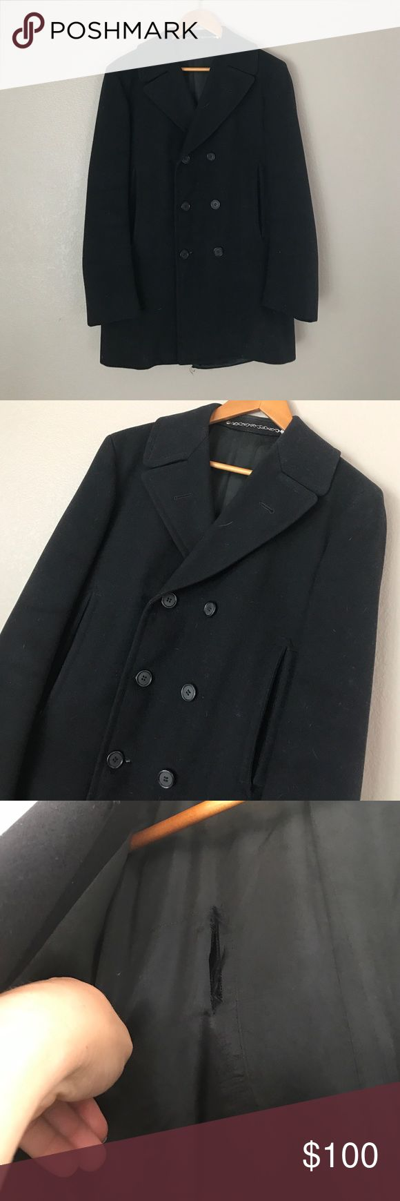Men's Wool Pea Coat Vintage Men's Pea Coat // Size L // tear in lining (see pic) and lining needs to be re-stitched on bottom Jackets & Coats Pea Coats