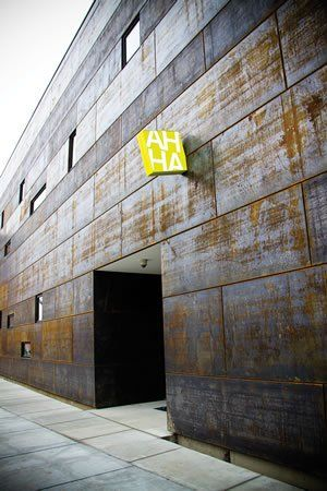 Part of the Hardesty Arts Center exterior is made from Cor-Ten steel, a steel alloy that creates a rusted, weathered look.