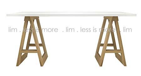 C1. 1-Tr/Thick - Solid raw oak trestles with white top