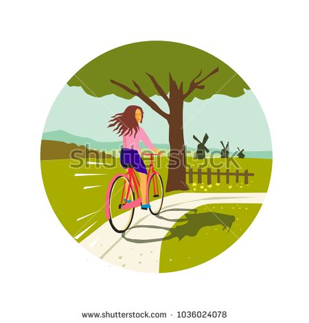 Retro style illustration of a girl riding a vintage cruiser bicycle looking back up towards tree with windmills set inside circle.  #bicycle #retro #illustration