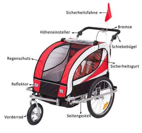 Remorca bicicleta pentru transportat copiii Qaba - rosu + alb + negru Bucuresti - imagine 4