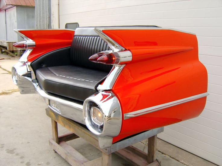59 Cadillac couch. I need one of these (made from a damaged cadillac of course)