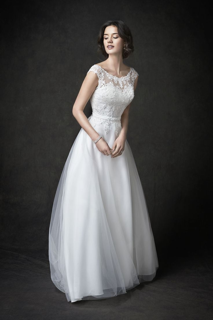Gallery Style GA2273   gorgeous lace and netting bridal gown with illusion lace v-back   romantic garden wedding   Kenneth Winston wedding dress
