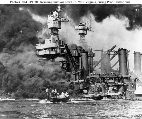 """U.S Navy Photographer """"Caught Off-Guard"""" Dec 7, 1941.  This image is very important because it is the moment that the U.S entered World War II after the Japanese bombed Pearl Harbor killing thousands of men.   Dec 7, 1941 The Bombing of Pearl Harbor"""