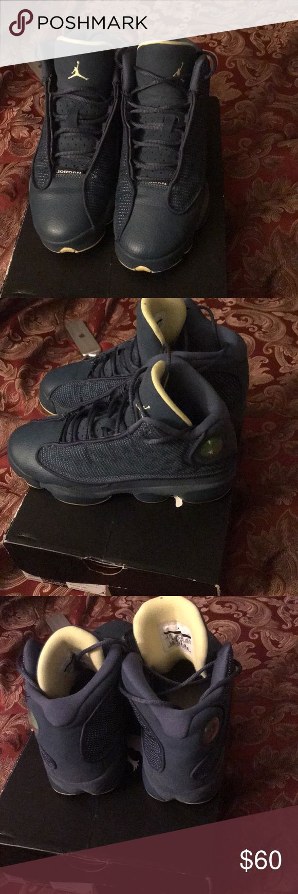 """Retro Jordan 13 """"Squadron"""" blue and yellow Excellent condition. Retro 13s. Worn a handful of times. Size 4.5 in boys. Jordan Shoes Sneakers"""