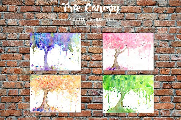 Watercolor clipart - abstract tree canopy  for instant download, pink tree, purple tree, green tree, golden tree with paint effect by CornerCroft on Etsy