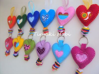 Felt ♥ Heart ♥ Keyrings