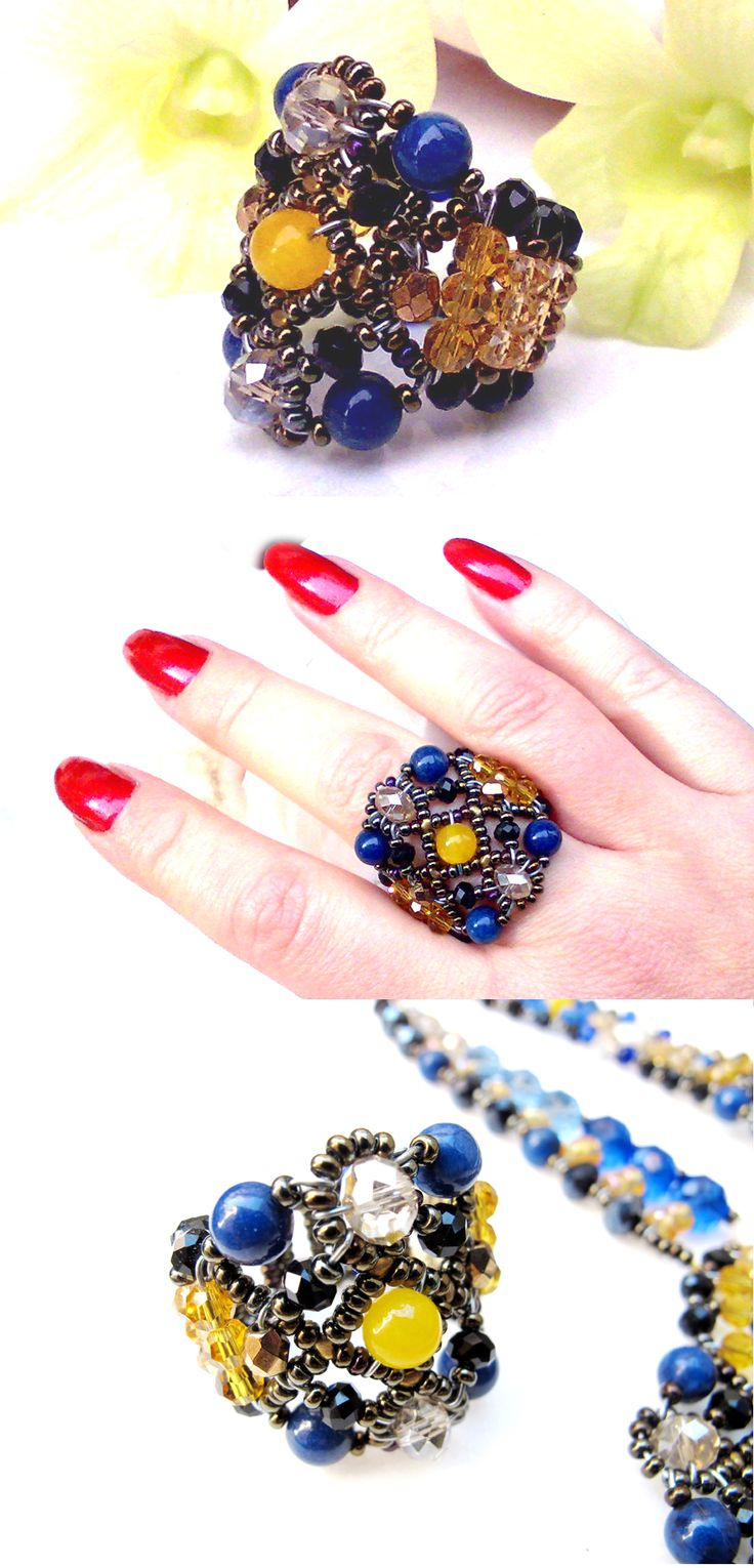 """Sheherezade Deep Blue"" Lapis ring with Lapis Lazulis, Yellow South America Topaz, Swarovsky Crystals, Czech Crystals. www.musesa.com"