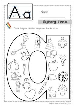 Beginning Sounds - Color It! (lowercase version). Includes separate pages for long vowels too! Fun for preschool and kindergarten!