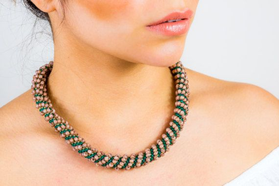 Christmas gift for women brown necklace green beadweaving
