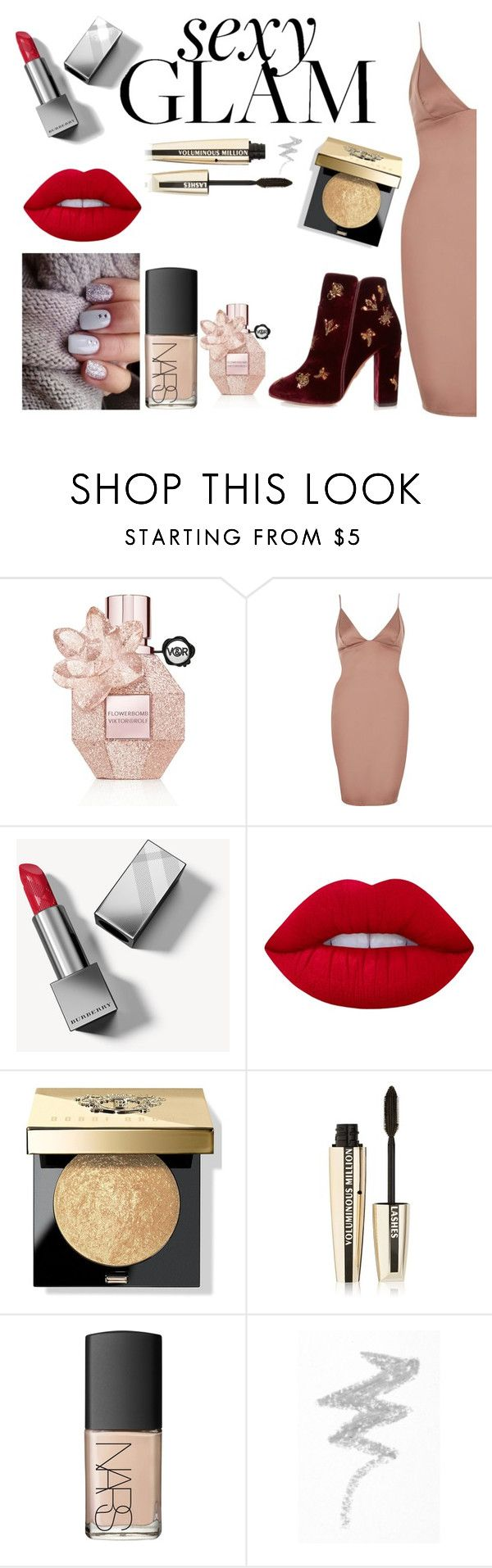 """""""Bold, gold and glitter"""" by emily-barrett97 ❤ liked on Polyvore featuring beauty, Viktor & Rolf, River Island, Burberry, Lime Crime, Bobbi Brown Cosmetics, L'Oréal Paris, NARS Cosmetics, NYX and Aquazzura"""
