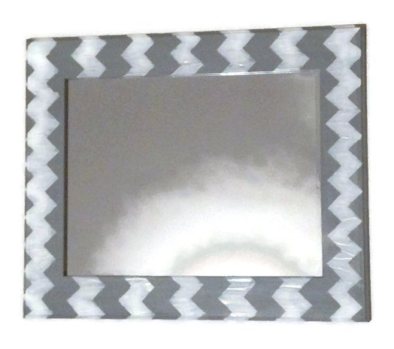 Gray chevron mirror grey and white wall mirror by MullaneInk