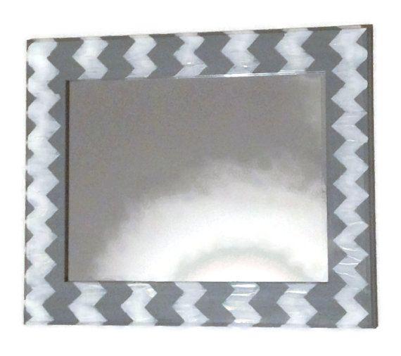 Gray chevron mirror, grey and white wall mirror, decorative mirror, hanging mirror, bathroom mirror, vanity mirror, geometric mirror on Etsy, $150.00