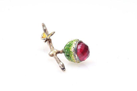 Sterling Silver Pendant Acorn Pendant Ruby Gemstone by Giampouras #silver #enamel #acorn #ruby #botanicaljewelry