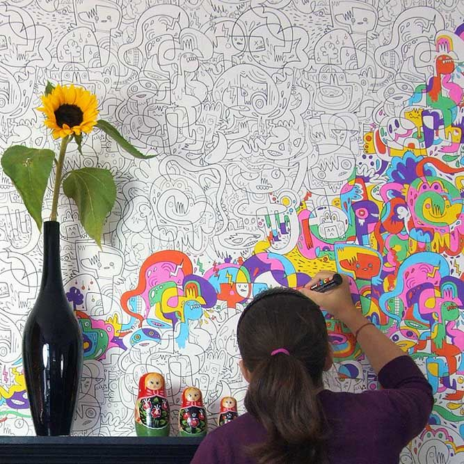 "Burgerdoodles Colour-In Wallpaper: ""Colour in the artwork using marker pens, felt tips or paint"". I think this is a great concept, although I reckon you'd need A LOT of pens to fill an entire room…"