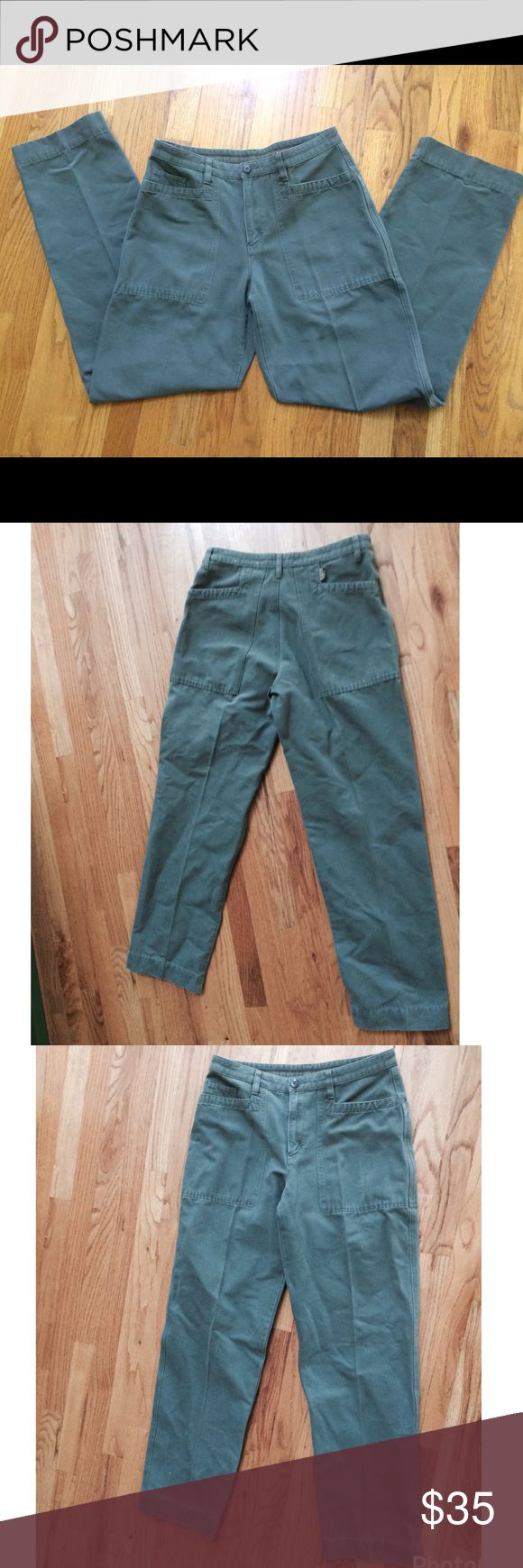 Patagonia Straight Leg Gray-Green Cotton Pants Perfect condition grayish green Patagonia pants. Size 10. Very sturdy! Measurements: Waist-30in, Front Rise-10in, Back Rise-13in, inseam-30in, outseam-41.5in, leg opening-17in Patagonia Pants