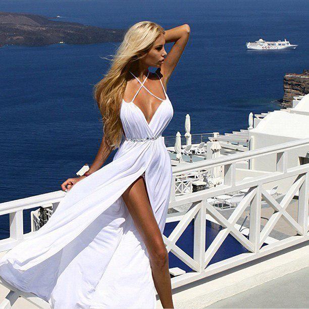 New Fashion Sexy Spaghetti Straps Low Cut High Slit Beach Wedding Dress 2017 Custom Made Short DressesSecond Hand