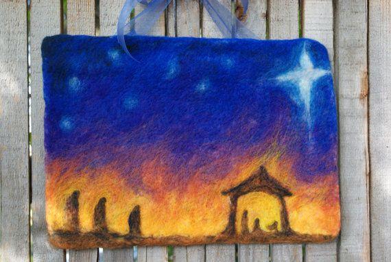 Mano de fieltro tapiz Natividad por NaliiOnEtsy en Etsy