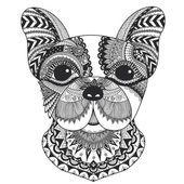 Bulldog francés zentangle decoradas con líneas limpias para colorear libro para anti estrés, T - diseño de la camiseta, tatuajes y otras decoraciones Vectores De Stock Sin Royalties Gratis