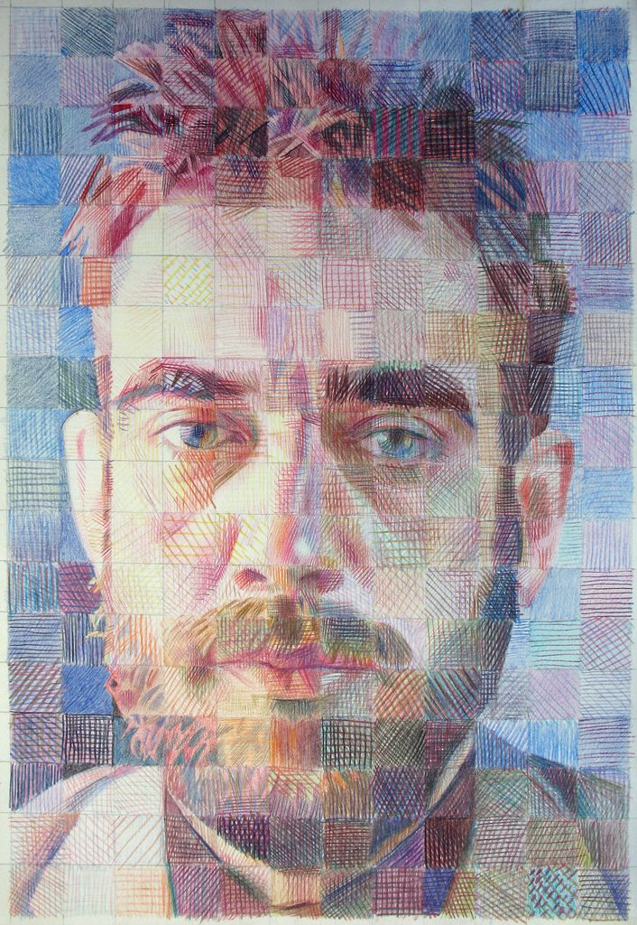 Could use this to do some interesting pencil lessons  Self #214. 1987 Yuri Y PORTRAITS  color pencils on paper