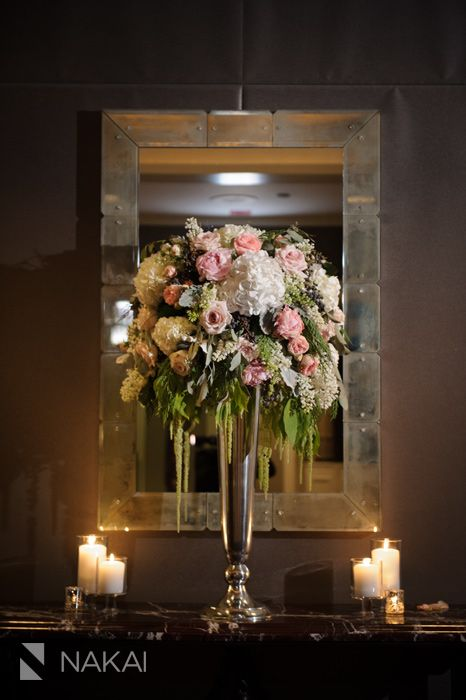 Nakai Photography. Vale of Enna flowers. Spiaggia. Rose. Hydrangea. Garden Rose. Stock. Hanging Amaranthus. Peony. Pivot Berry. Dusty Miller. Seeded Eucalyptus. White, Pink, Green, and Grey. Centerpiece. Chicago Wedding.