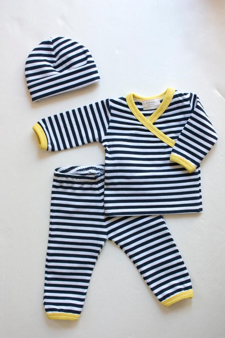 Newborn Kimono Style Top, Pants, and Hat Set. $30.00, via Etsy.