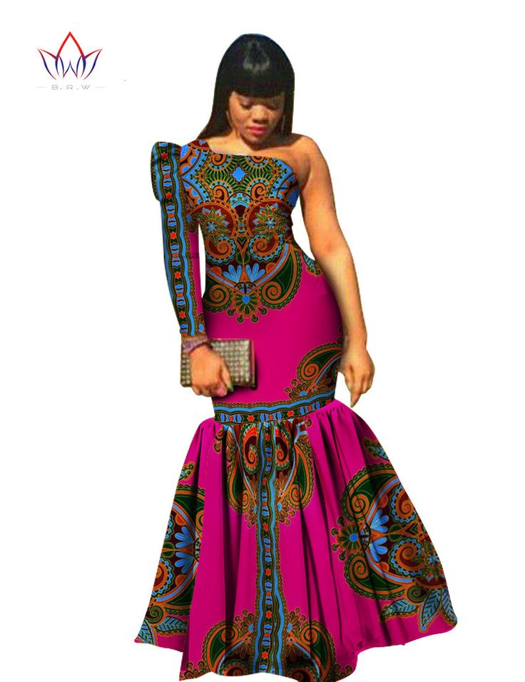 BRW Autumn African Clothes for Women Dashiki Vestidos African Bazin Riche Dress for Women Cotton Print Mermaid Long Dress WY346