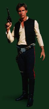 Han Solo  EPISODE IV: A NEW HOPE     Attire:    Black Vest  White Shirt  Blue Pants with Red Corellian Blood Stripe  Black Belt  Gun Belt with Holster  Black Boots     Accessories:    Droid Caller     Weapons:    BlasTech DL-44 Heavy Blaster Pistol