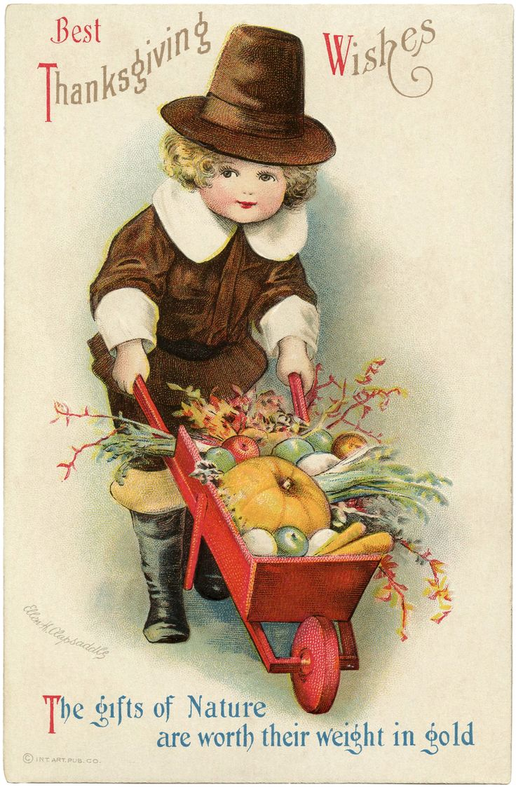 Best Thanksgiving Wishes ~ vintage holiday greeting card with adorable pilgrim boy ~ artwork by Ellen H. Clapsaddle | via The Graphics Fairy
