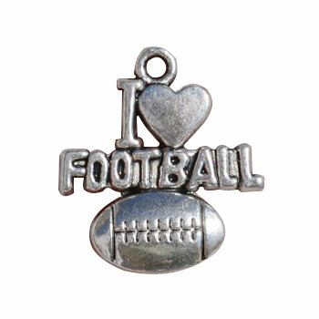 8pcs - I Love Football Charm Pewter 20x18mm - Ships Immediately from Texas - SP0801