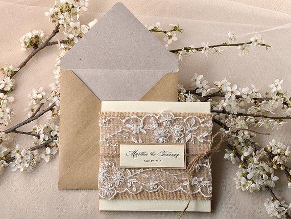 Recycling Paper, Parisian Lace  Wedding Invitation, Pocket Fold Rustic  Invitation , Shabby Chic Wedding invitation, Burlap nad twine