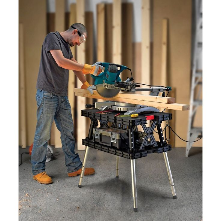 Adjustable Workbench Work Table Metal Plastic Folding Portable Bench Garage NEW  #Keter