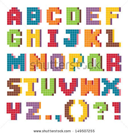 Vector pixel art alphabet set in fun vintage colors isolated on white. Good for scrap booking, school projects, posters, textiles. See my folio for JPEG version and for more alphabets. - stock vector