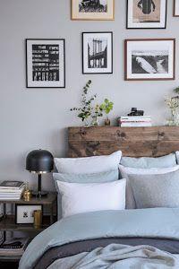 cabecero de cama con tableros madera