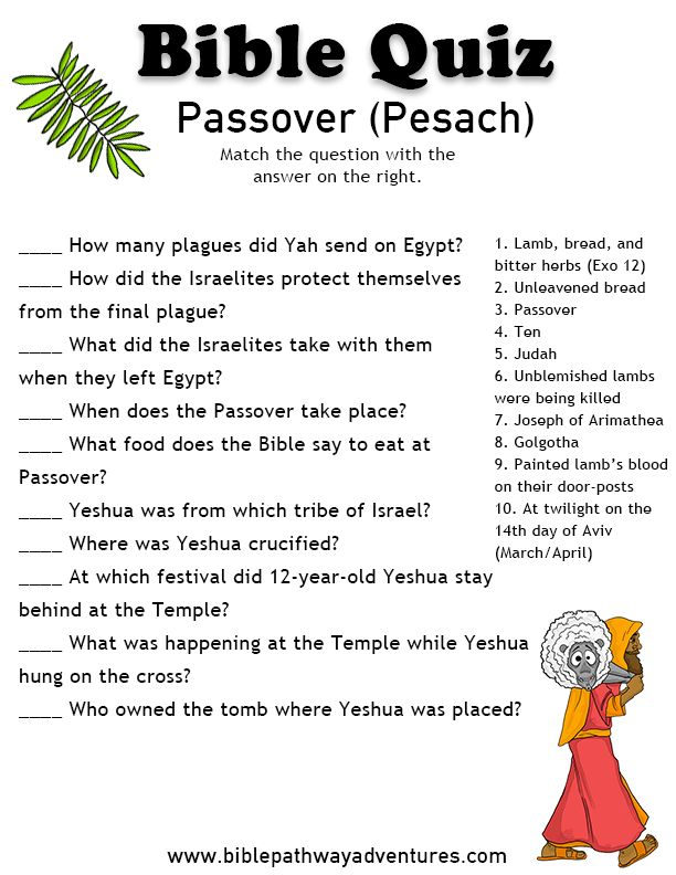 Printable bible quiz: Passover | Free Download