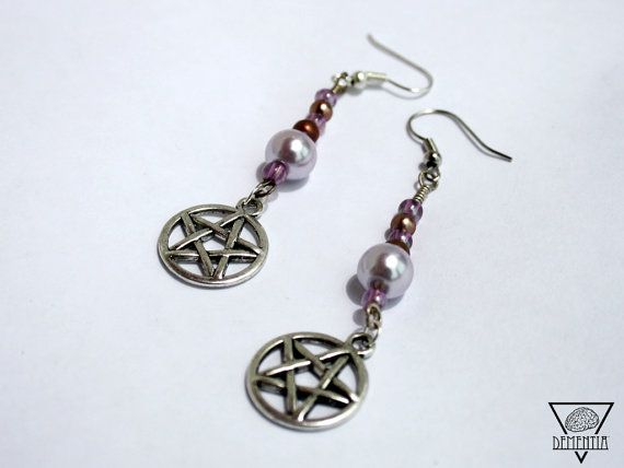 Witches Pentagram Purple Earrings, Wicca, Pagan, Druidry, Magic & Occult  Available on Etsy: https://www.etsy.com/uk/listing/236419111/witches-collection-earrings-pentagram?ref=shop_home_active_2