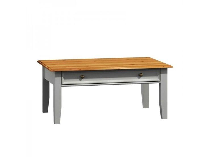 Belluno Elegante drevený konferenčný stolík, dekor biela / dub, masív, borovica