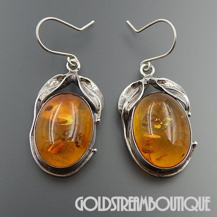Vintage Sterling Silver Oval Sunny Amber Dangle Leaves Hook Earrings