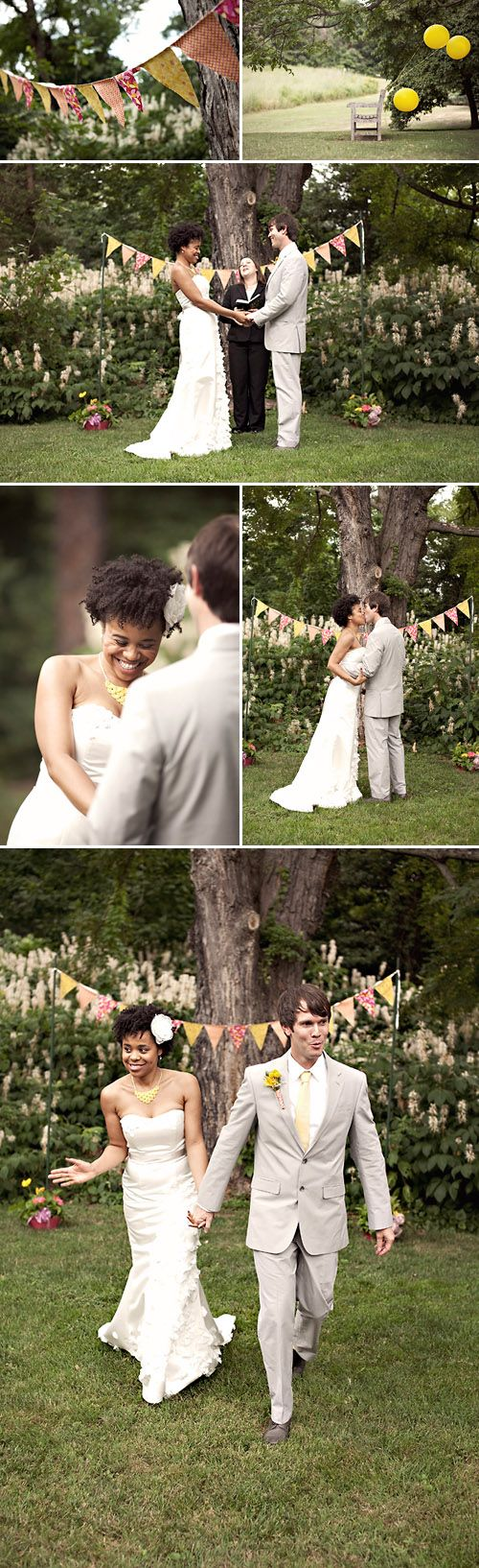 natural hair bride + DIY wedding. i love their signature silhouette and pennant flag banner on all of their stationery. couple branding; nice!