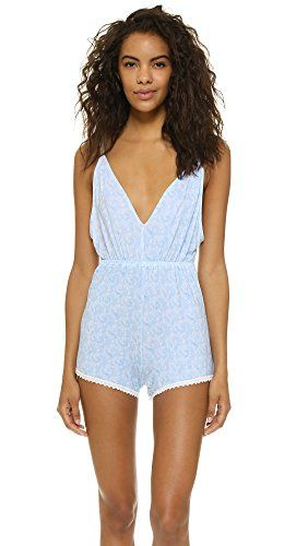 Cheek Frills Women's Carolyn Murphy Dandelion Sleep Romper  A comfortable Cheek Frills romper with a faint print. Lace trim adds a delicate finish. Gathered elastic waist. Low-cut back. Adjustable straps. Jersey Jersey 95% modal/5% elastane Jersey Jersey 95% modal/5% elastane Dry clean  http://www.allsleepwear.com/cheek-frills-womens-carolyn-murphy-dandelion-sleep-romper/