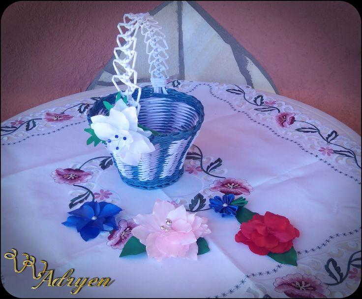 Kosár és selyemvirágok