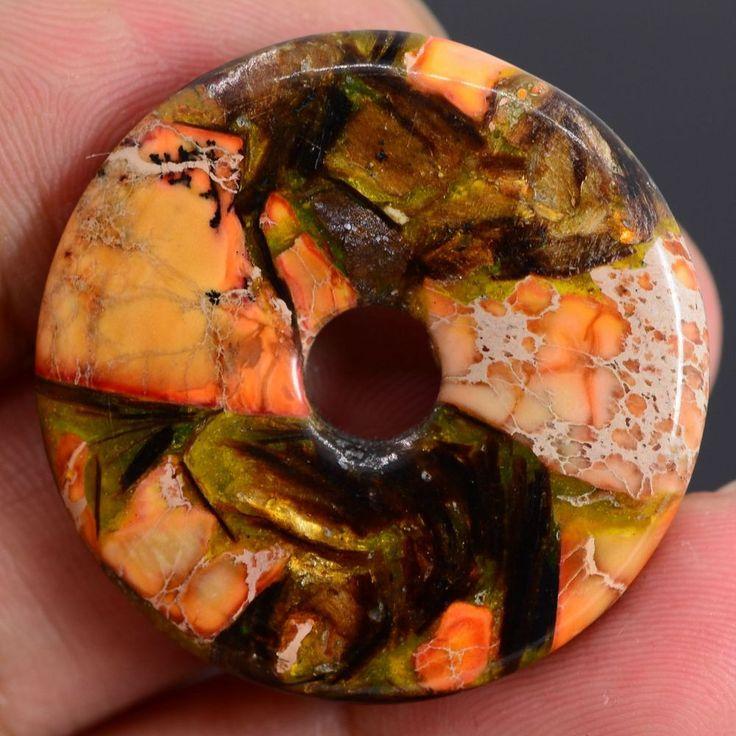 1 donut en pierre 30X30 jaspe orange sédiment de mer, pierre fine, gemme, semi précieux #1 : Autres accessoires bijoux par perlesenpagaille