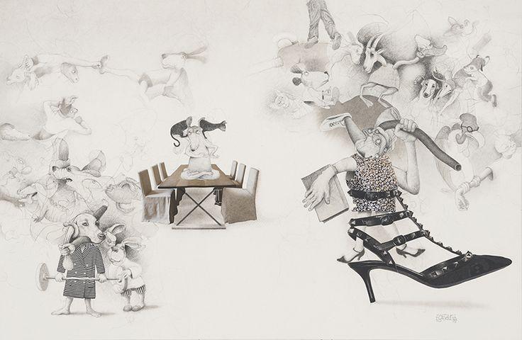 Ramiro Martinez Plasencia, 'Escaramusa'. Lápiz sobre papel, tinta, acuarela y collage. México, 2015 / dibujo
